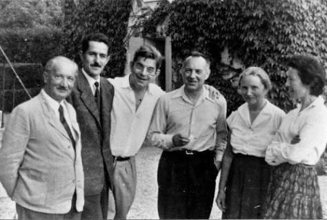 """""""දර්ශනය යනු කුමක්ද?"""" යන දේශනය කිරීමට මොහොතකට පෙර හෛඩගර් ලකාන්ගේ නිවසේ දී ලකාන් හමුවී(1955)."""